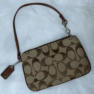 Coach Signature Wristlet in Brown/Tan